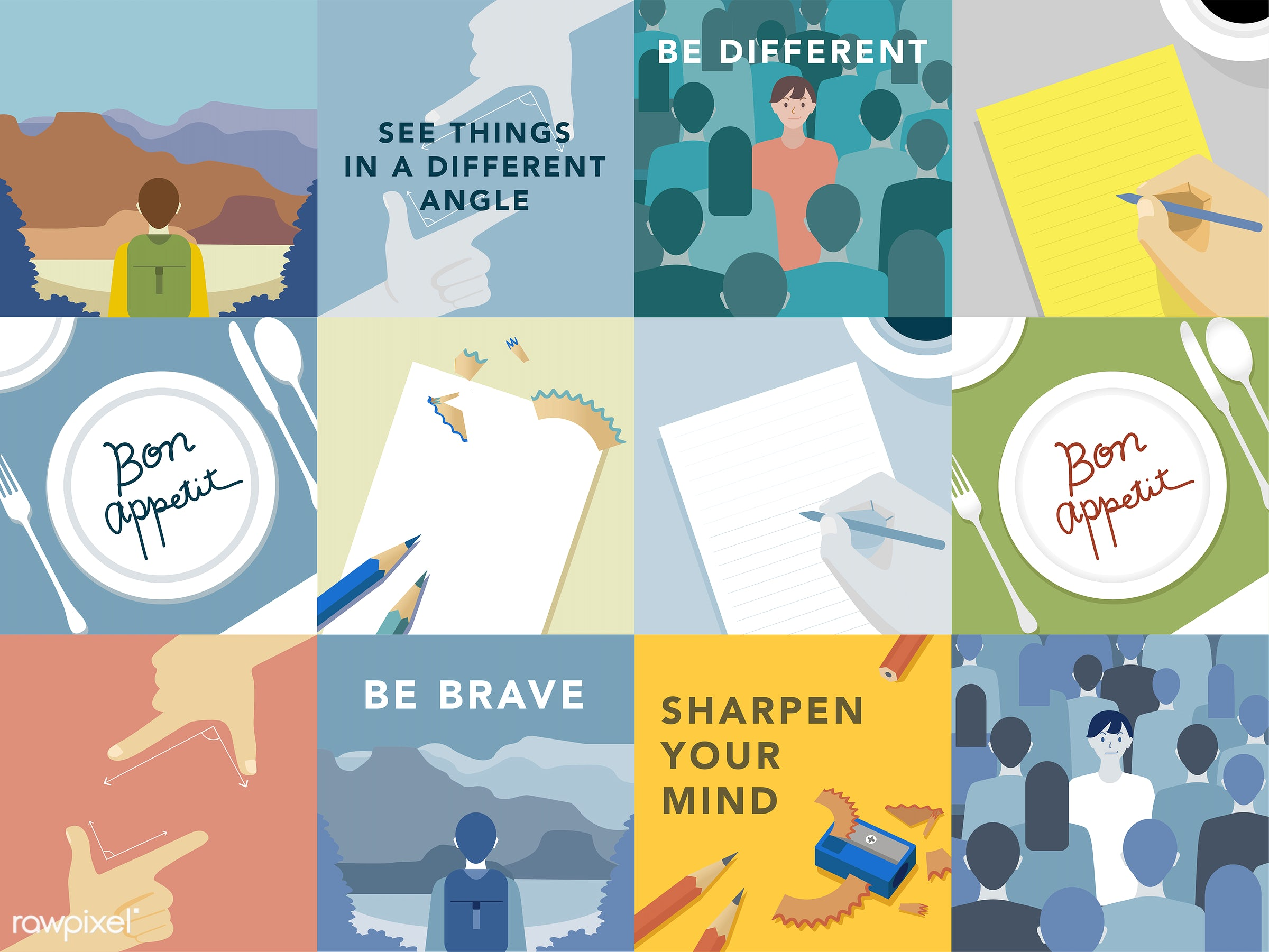 Set of illustrations exploring the concept of human values - adventure, alone, angles, be brave, belief, blue, diary,...