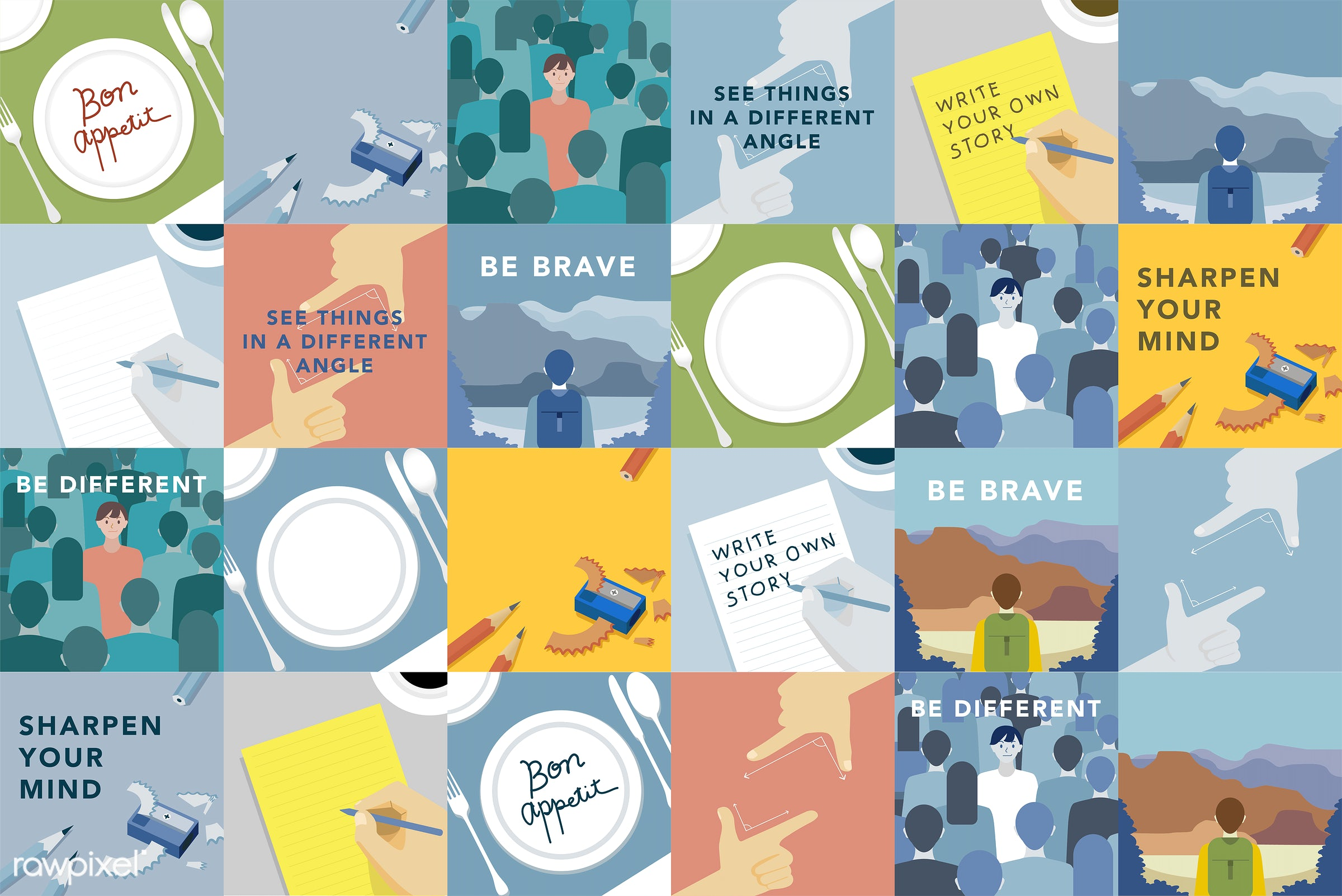 Set of illustrations exploring the concept of human values - vector, write your own story, diary, jot, jotting, journal,...