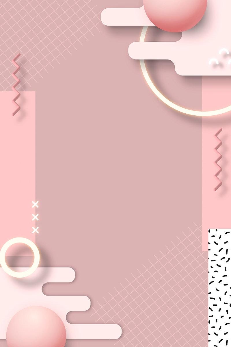 Pink geometric Memphis design element vector