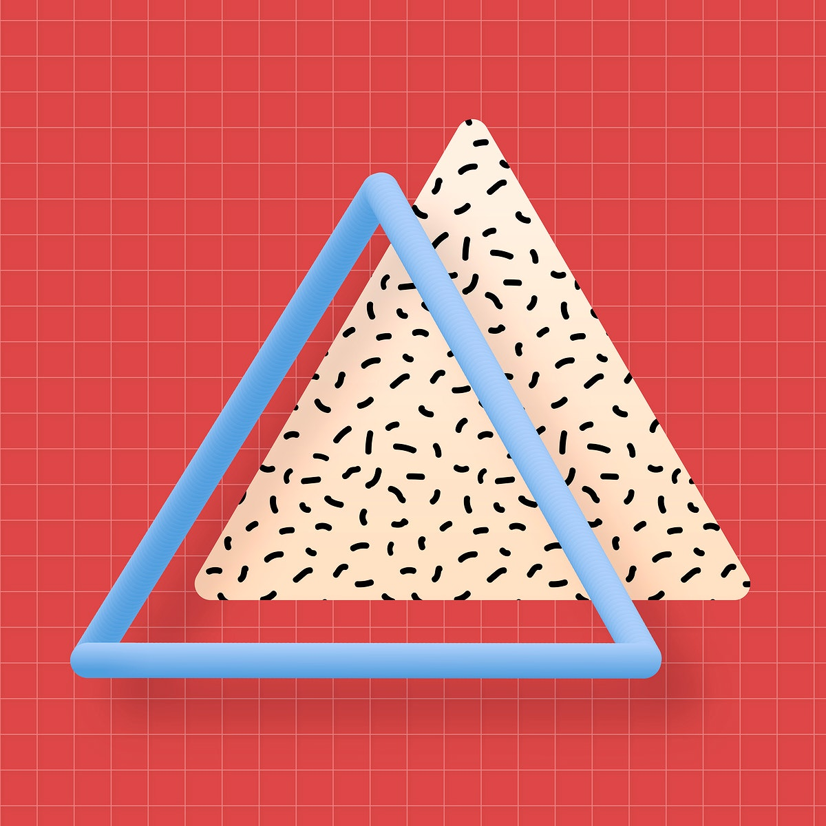 Triangle with bacterio print on a red background vector