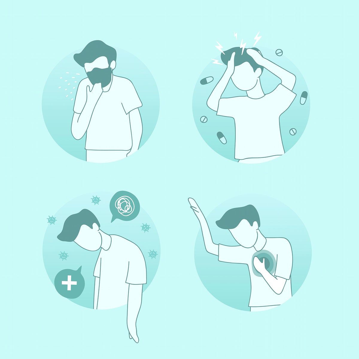 Man suffering from covid 19 viral infection character set vector