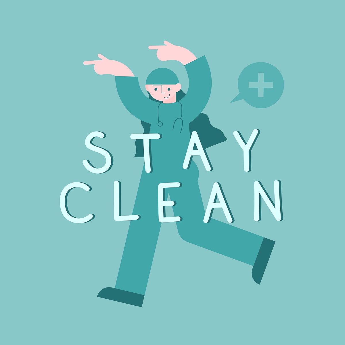 Doctor avatar with stay clean message illustration