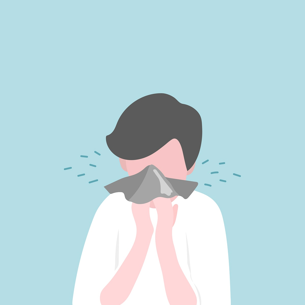 Man infected with covid 19 virus coughing into tissue illustration