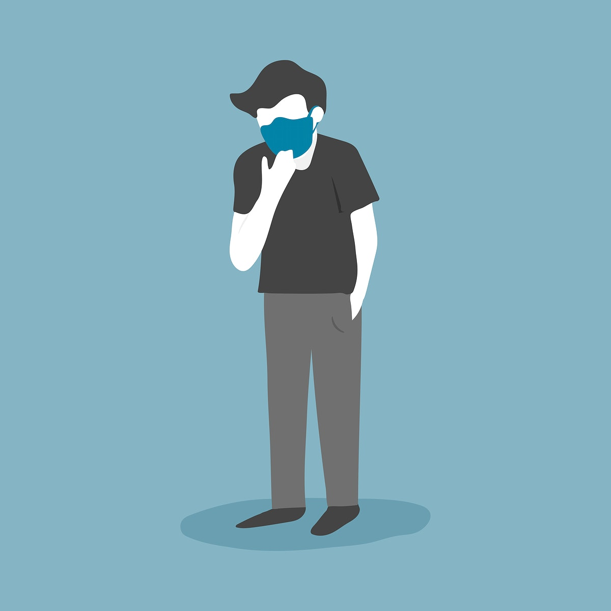 Sick man wearing a protective face mask vector