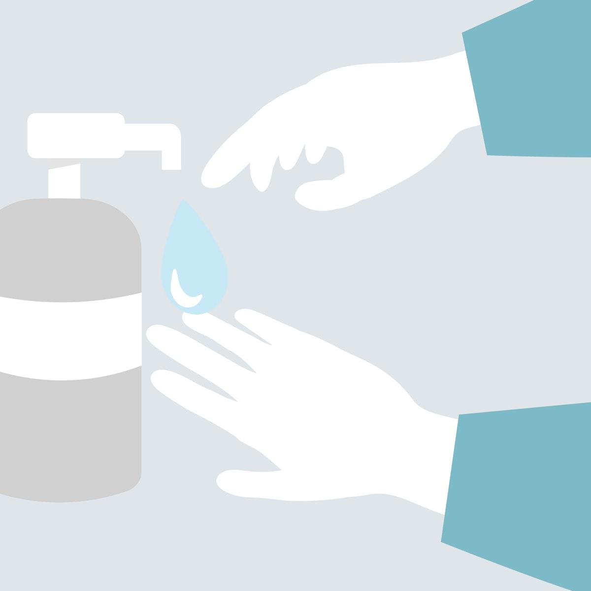 Disinfecting hands with sanitizer gel anti Coronavirus vector