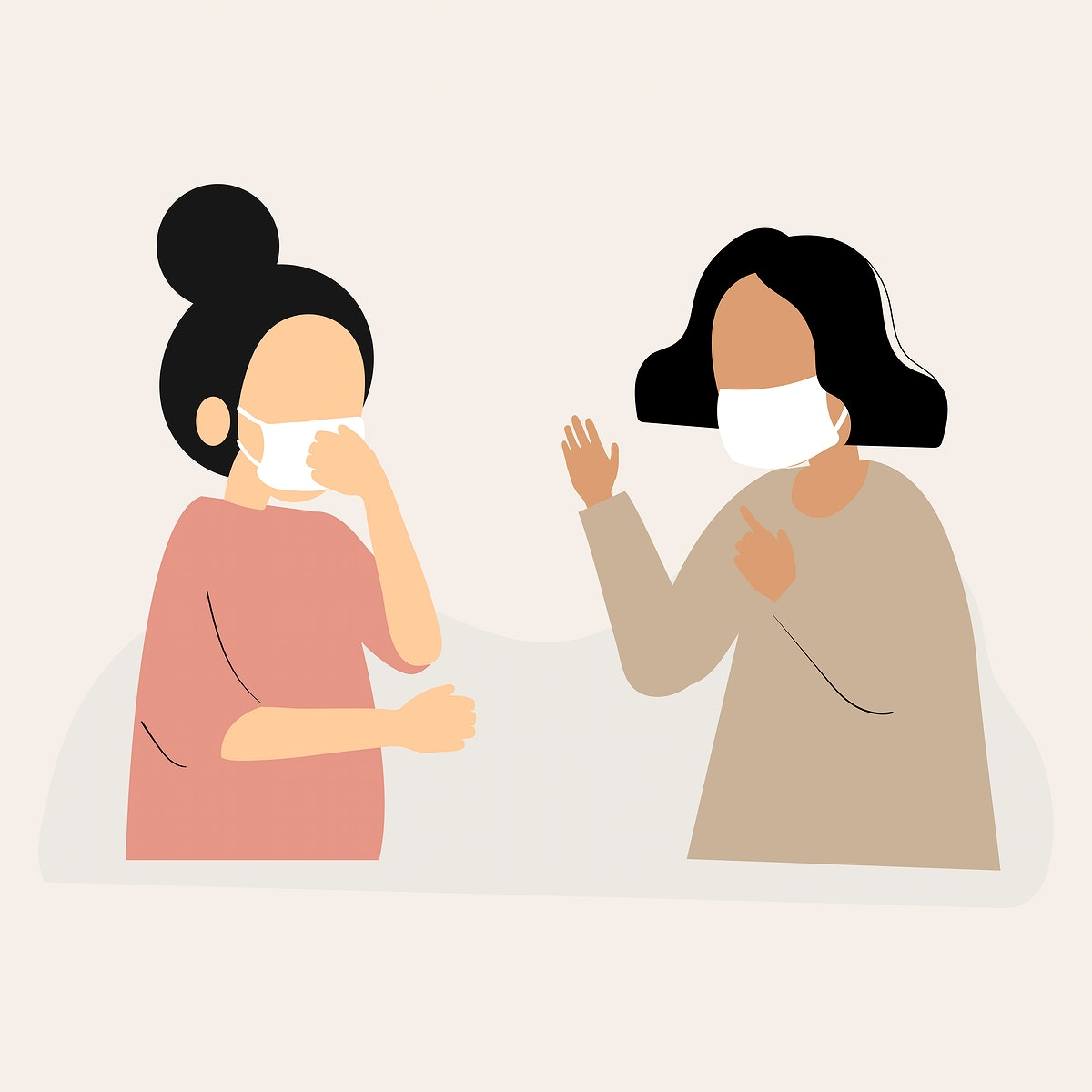 People wearing face masks talking character element vector
