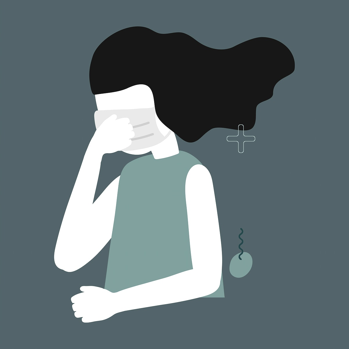 Covid 19 infected woman wearing face mask and coughing vector