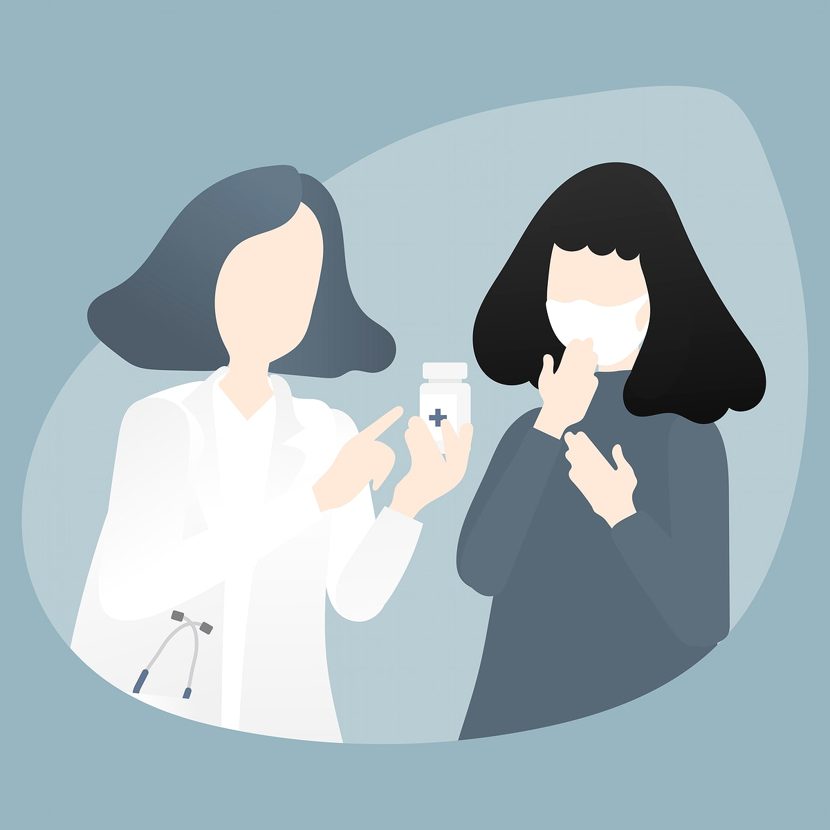 Doctor giving advice and medicine to patient characters vector