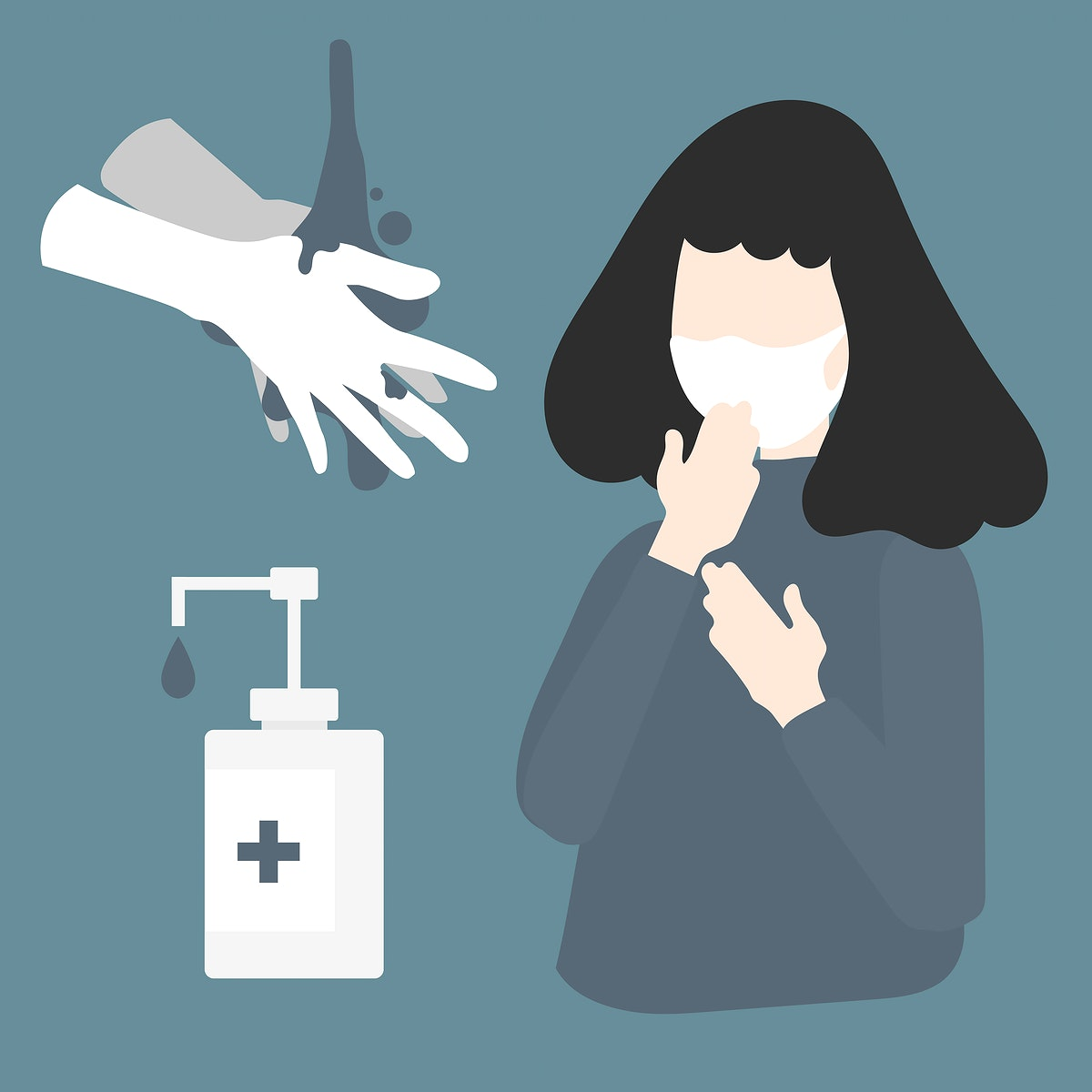 Woman wearing a protective face mask and washing hands against covid 19 virus vector