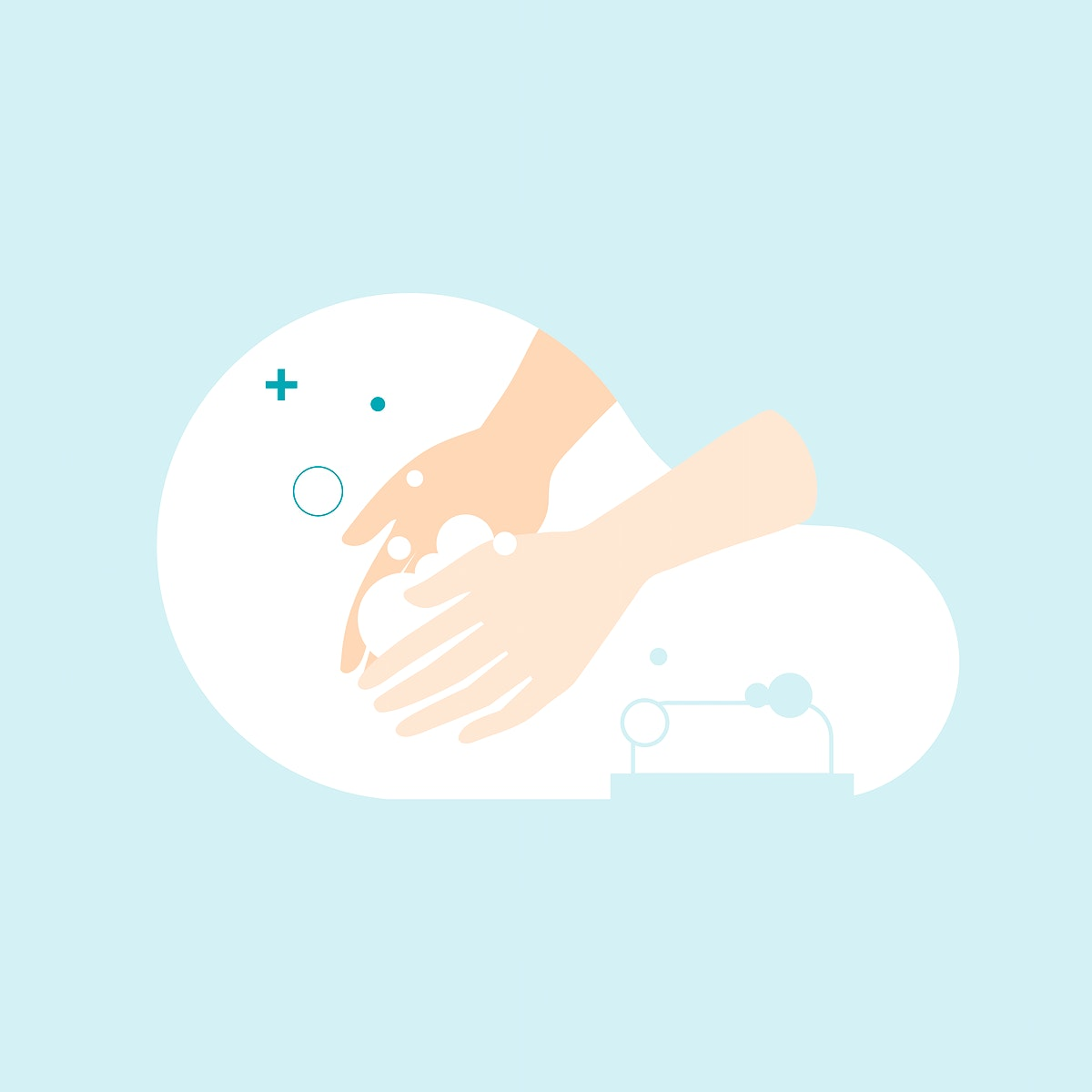 Hand washing with a soap to prevent Coronavirus vector