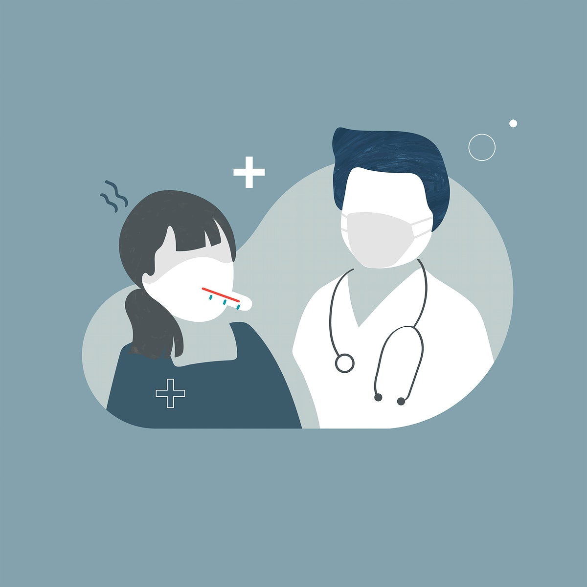 Doctor and a patient with a high fever characters vector