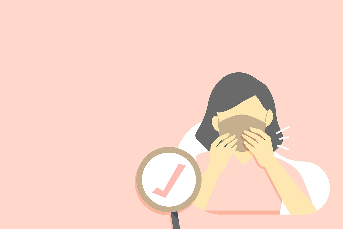 Woman wearing a face mask background vector