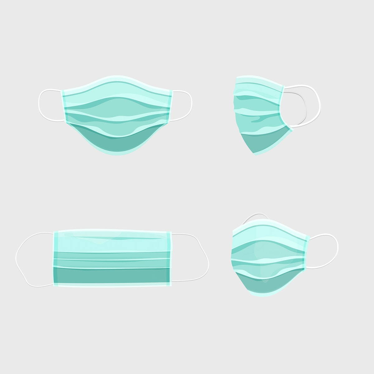 Disposable surgical mask set covid-19 awareness vector