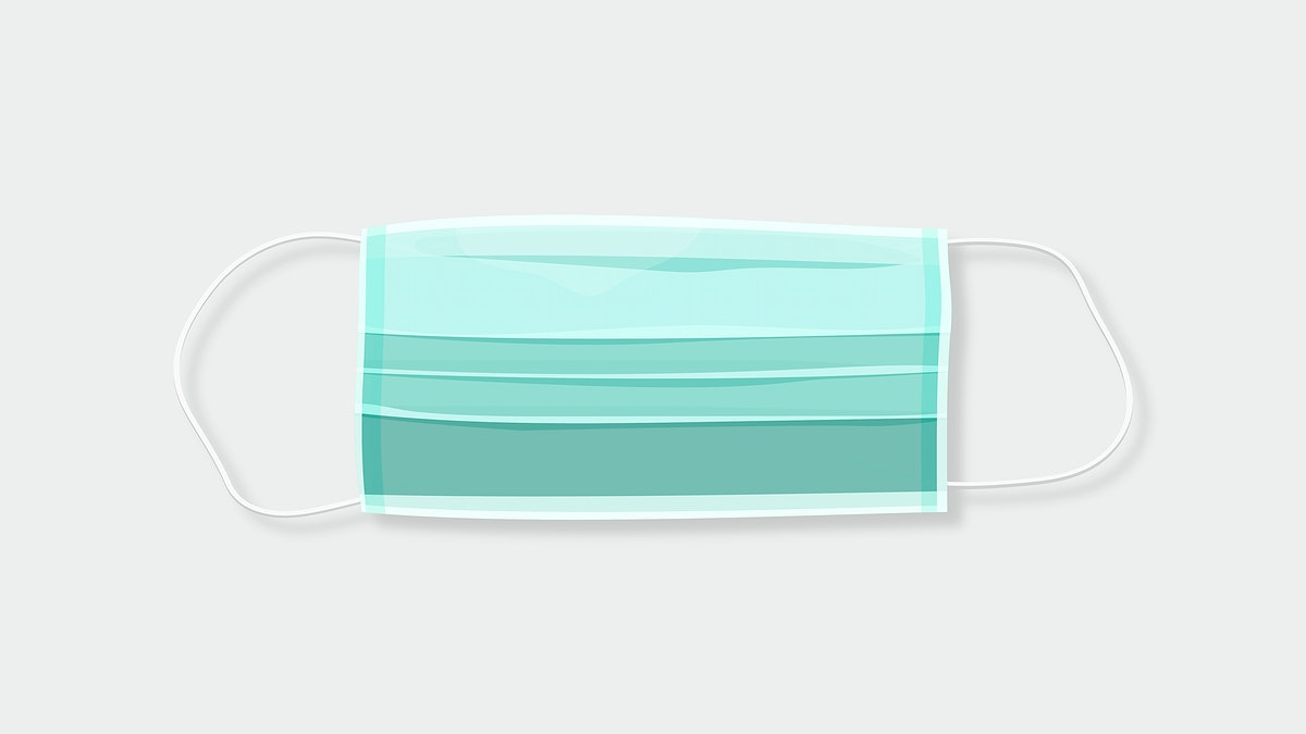 Disposable green surgical mask covid-19 awareness vector