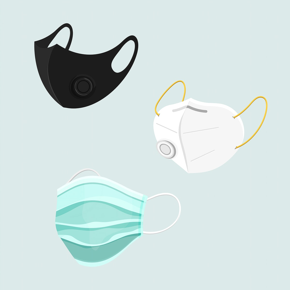 Protective face mask set covid-19 awareness vector