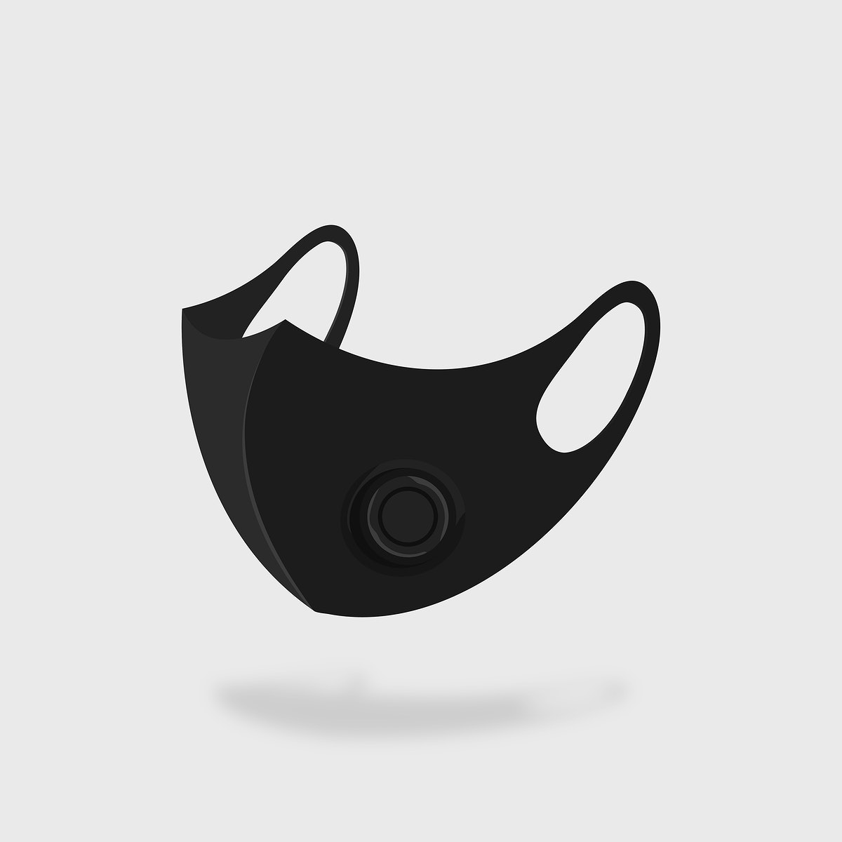 Black respirator mask covid-19 awareness vector