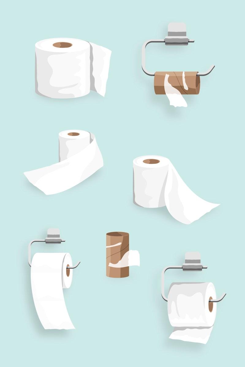 Toilet tissue roll elements set vector