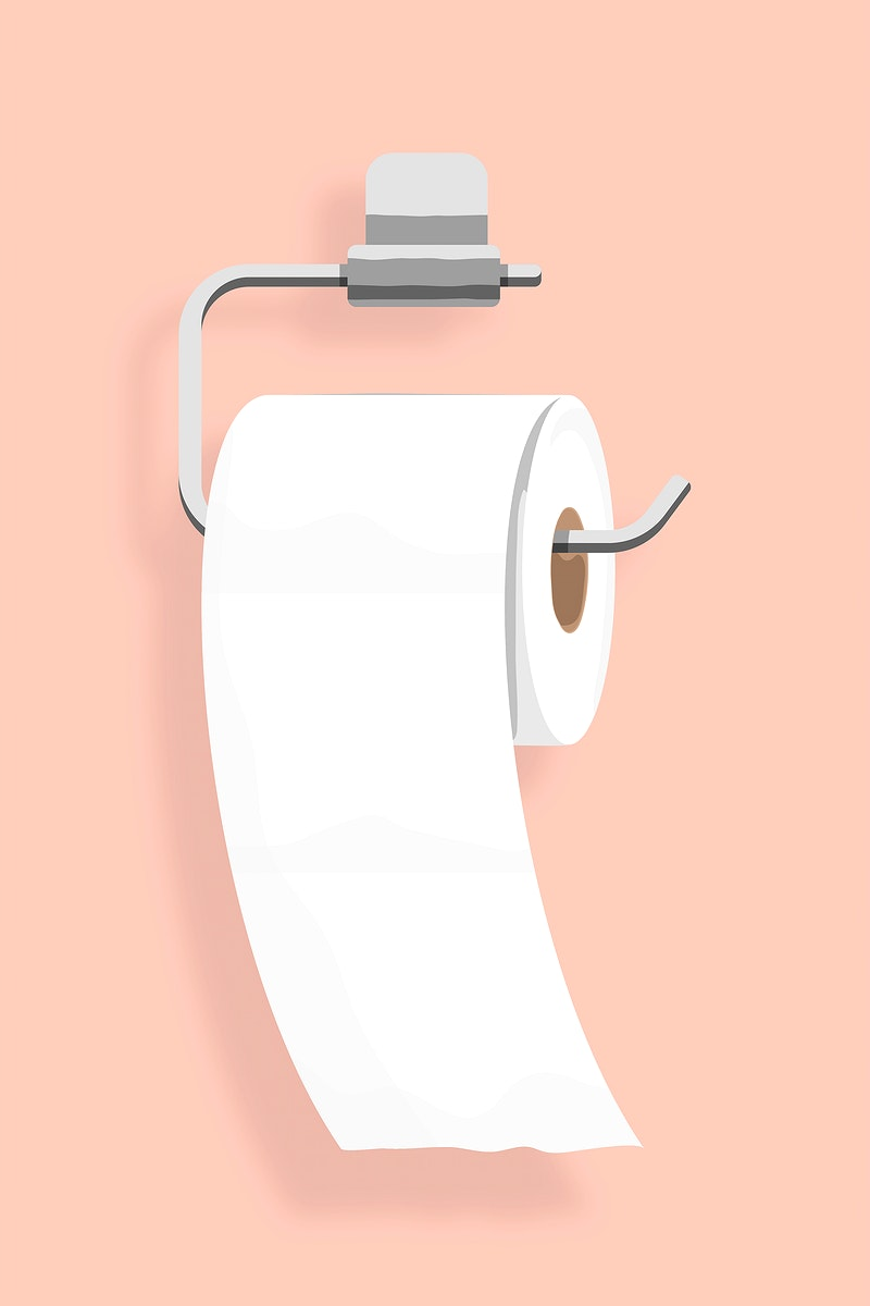 Toilet tissue hanging on a holder element vector
