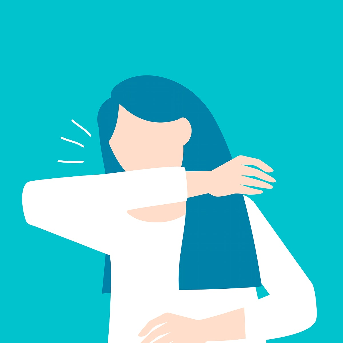 Woman coughing into her elbow covid-19 awareness vector