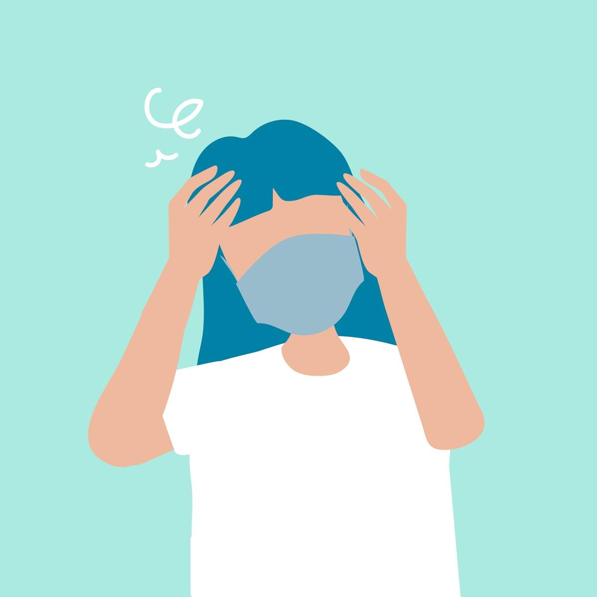 Sick woman having a headache covid-19 awareness vector