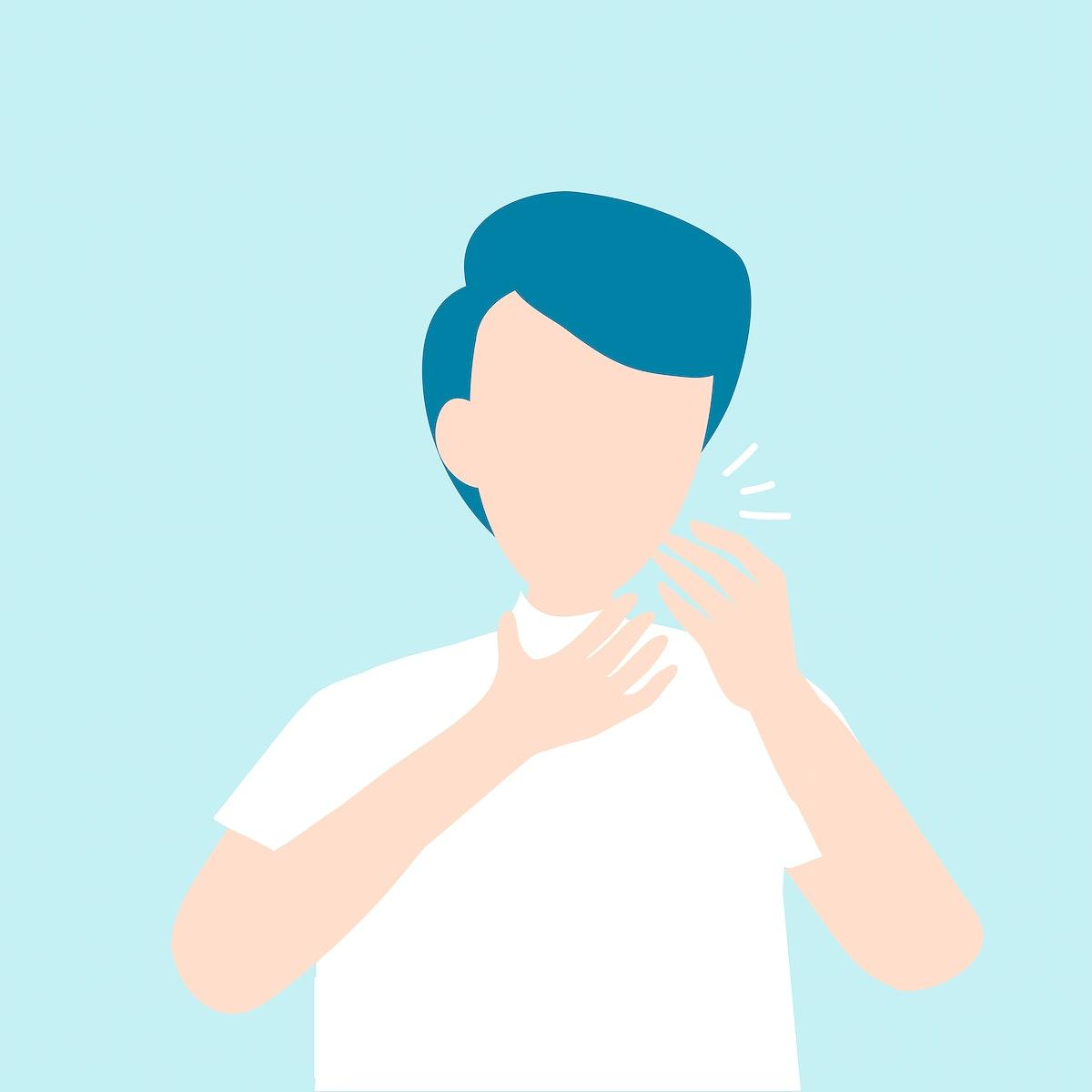 Coughing man covid-19 awareness vector