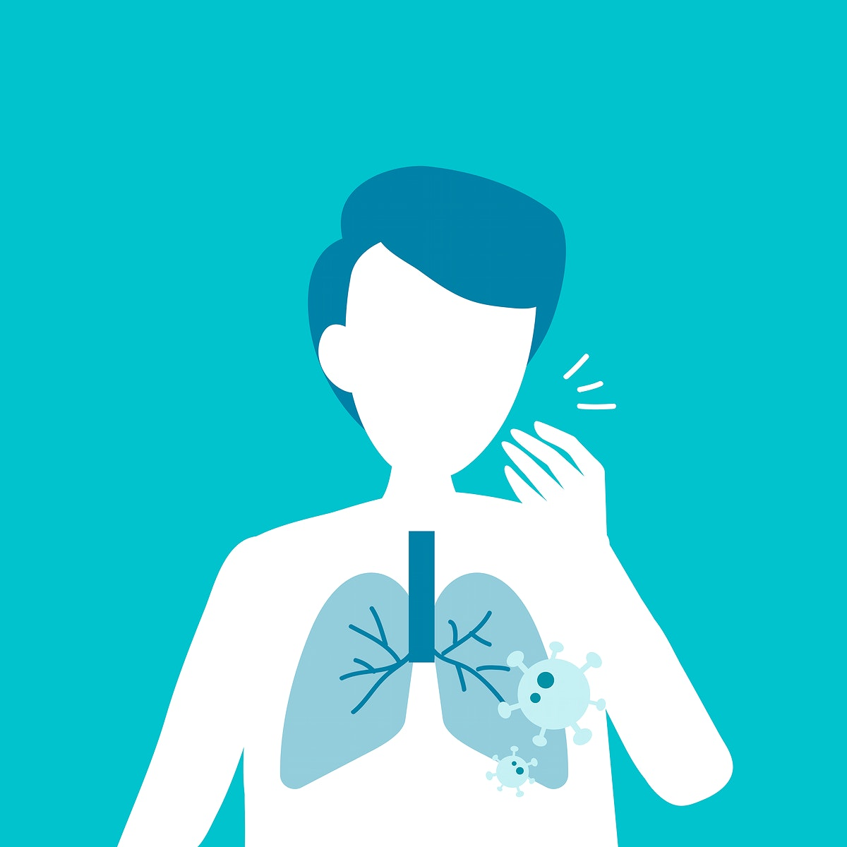 Coughing man with lung damage covid-19 awareness vector