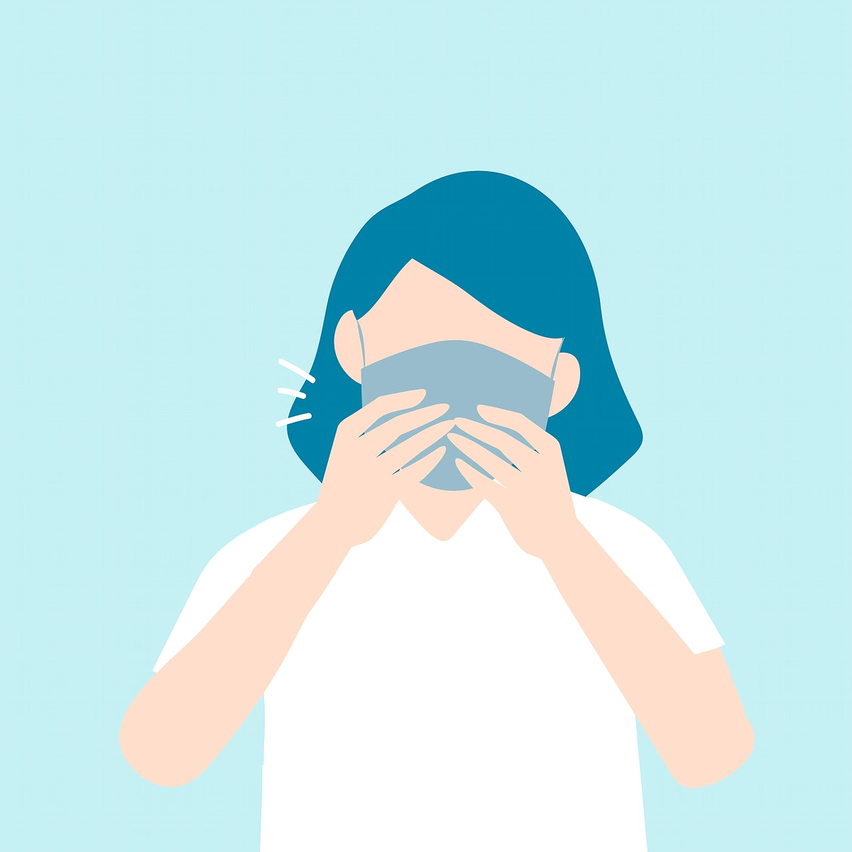 Coughing woman with a mask covid-19 awareness vector