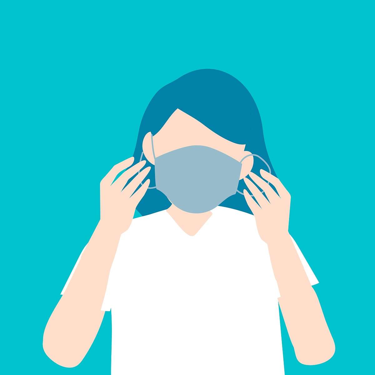 Woman putting on a surgical mask covid-19 awareness vector