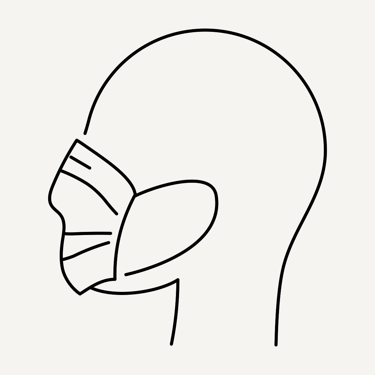 Line drawing character with wearing face mask from COVID-19 symptoms element vector