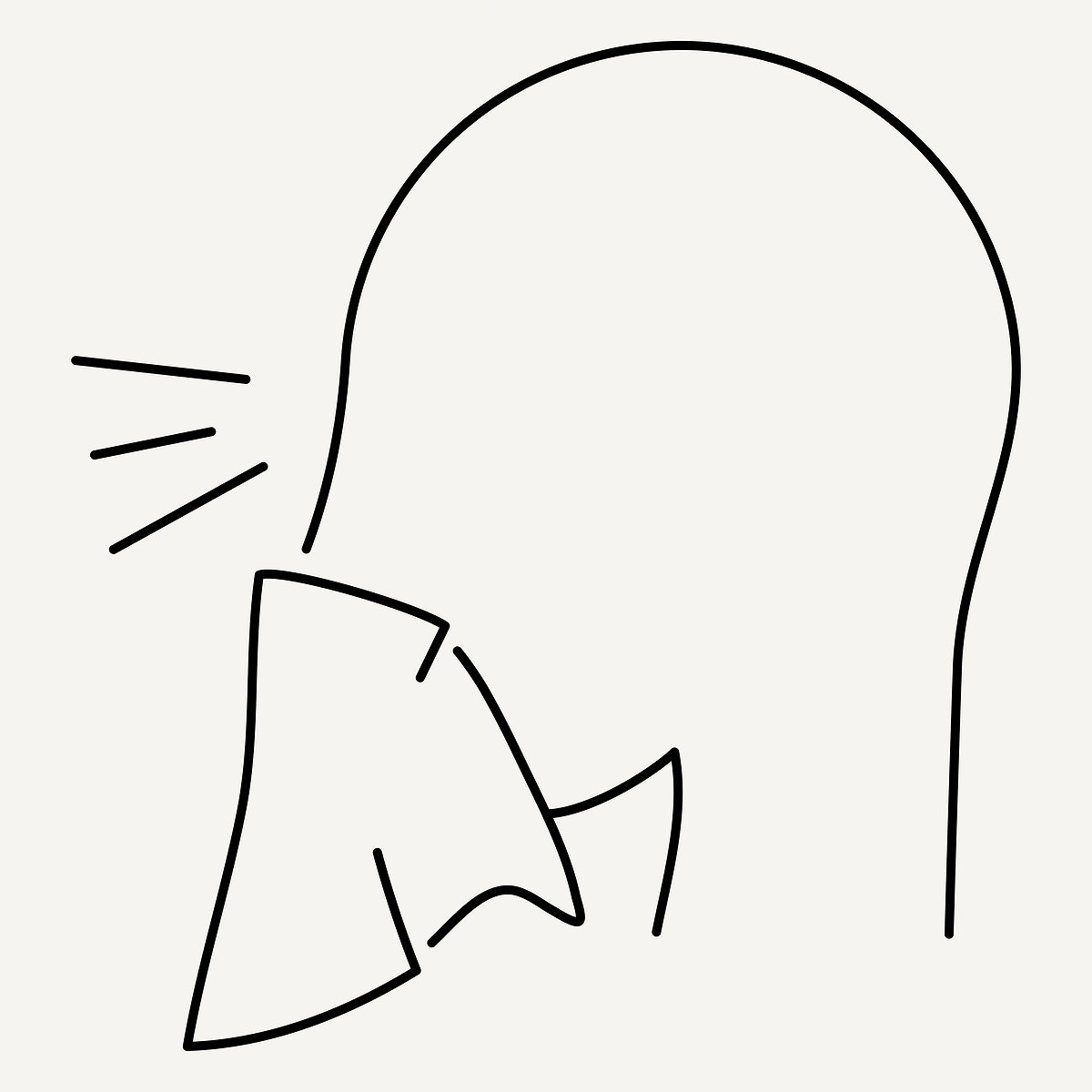 Line drawing character sneezing from COVID-19 symptoms element vector