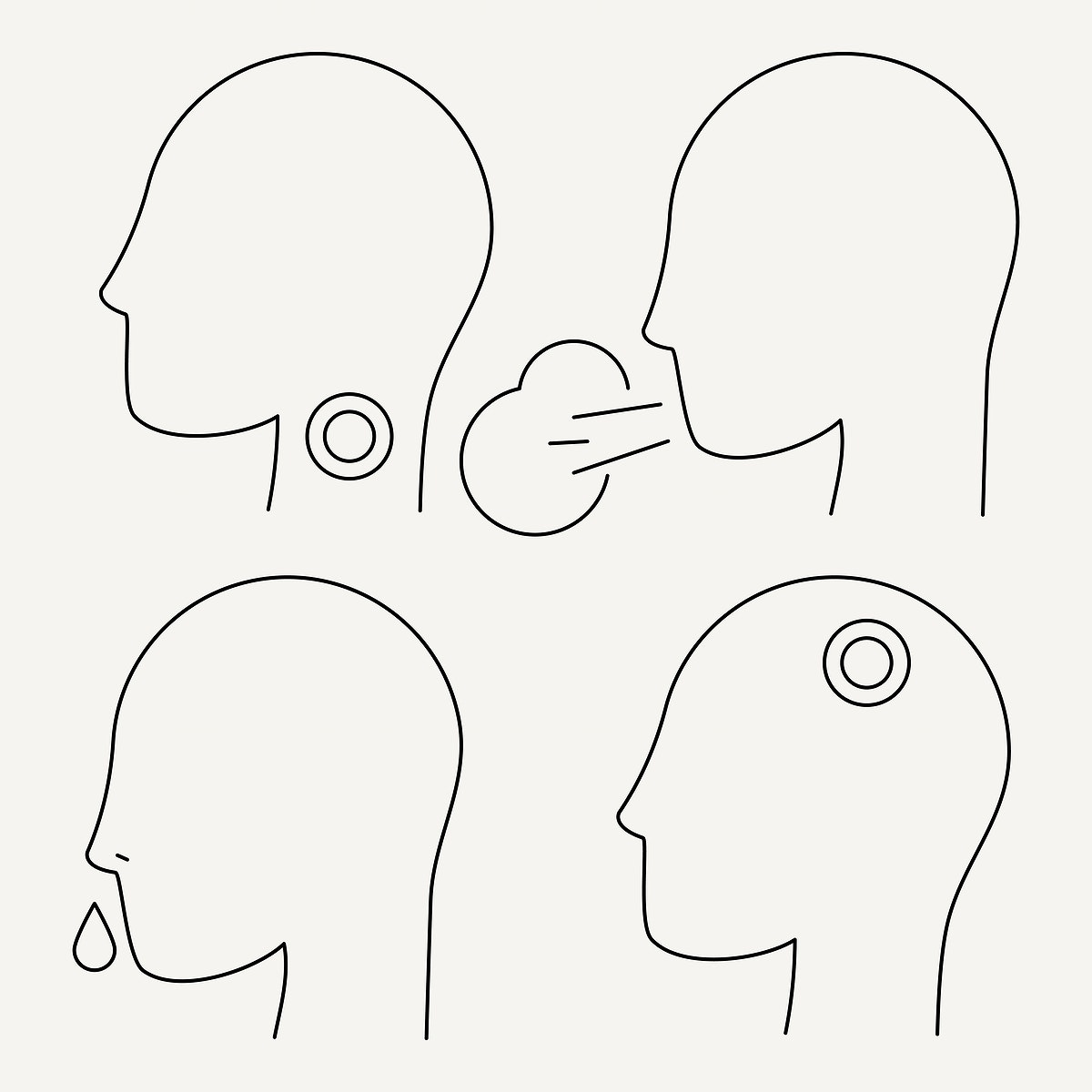 Coronavirus signs and symptoms line drawing character element set vector