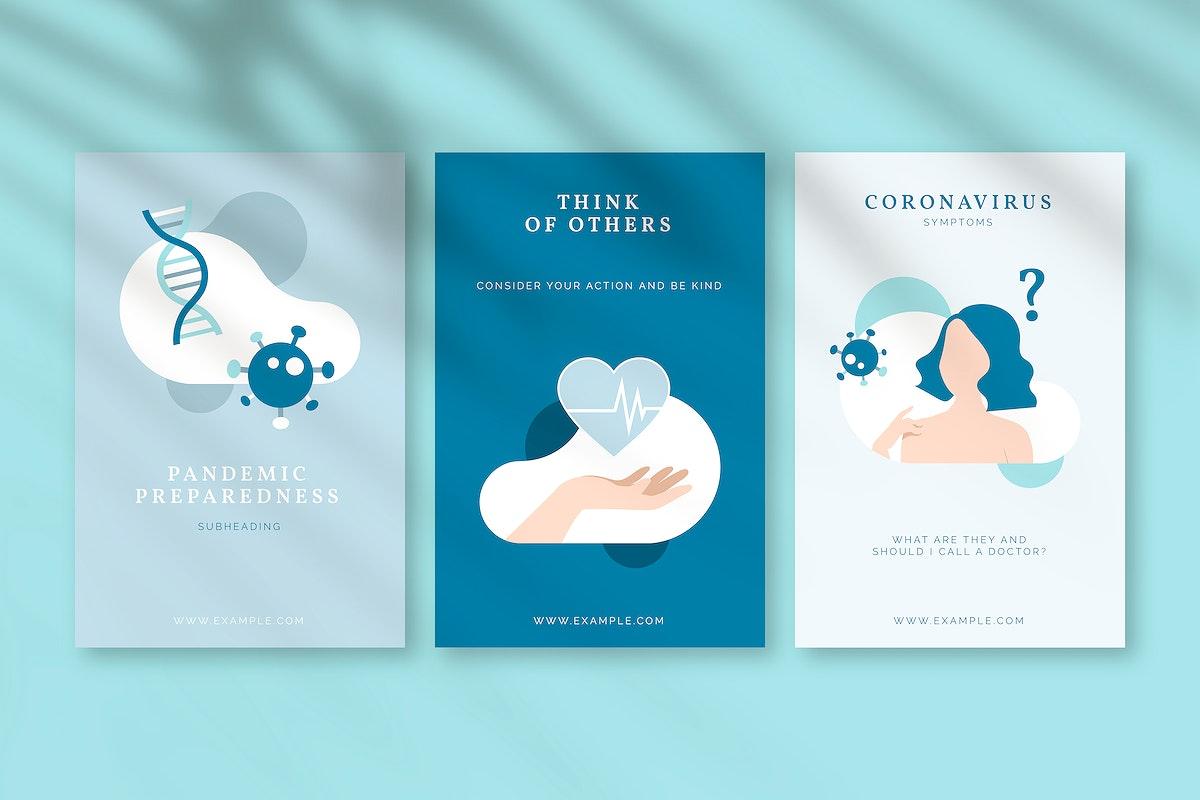 Coronavirus awareness message poster set vector