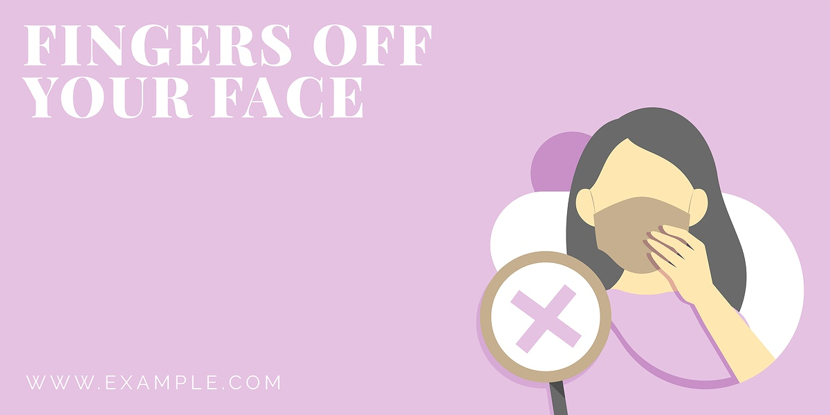 Fingers off your face coronavirus awareness message vector