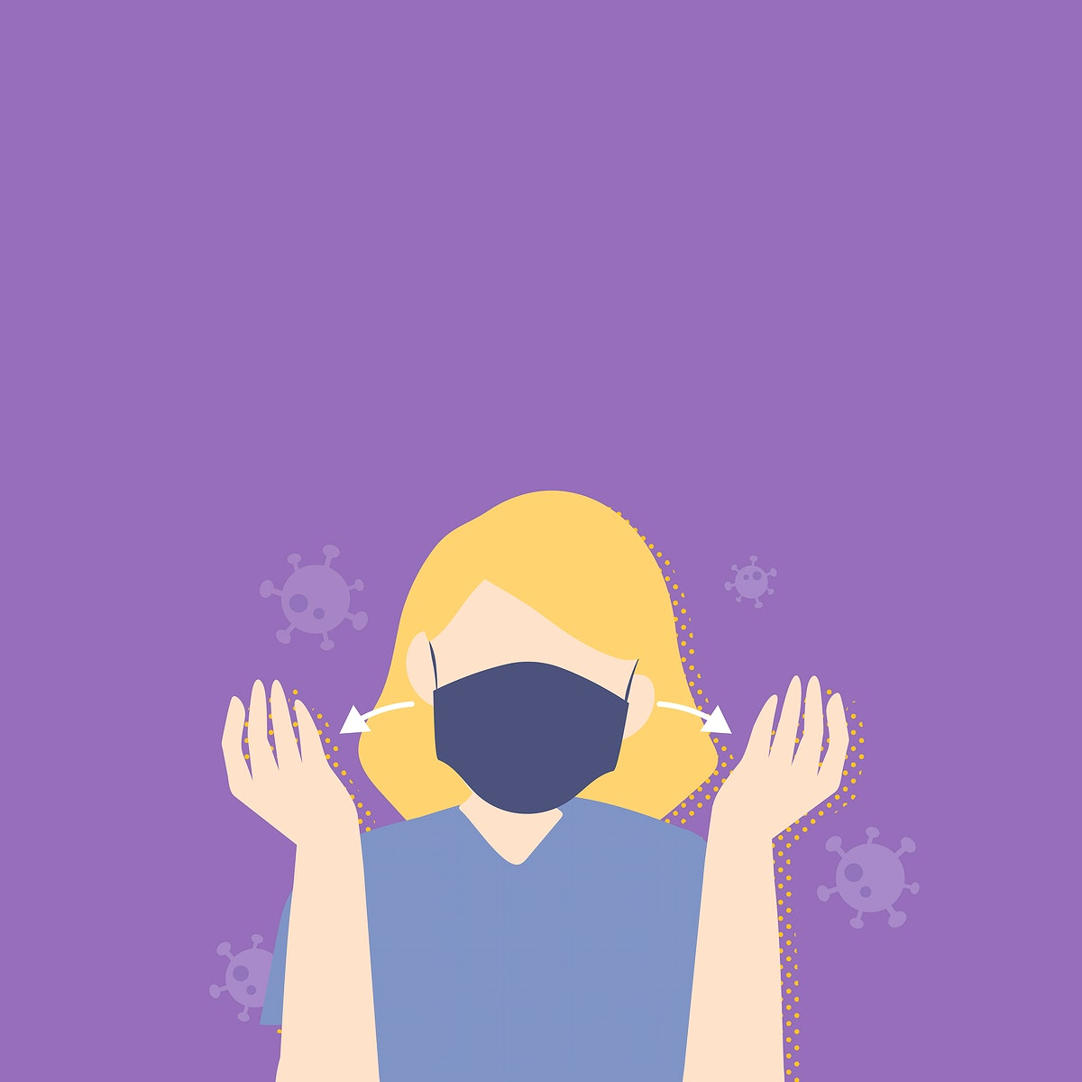 Woman wearing a mask covid-19 awareness vector