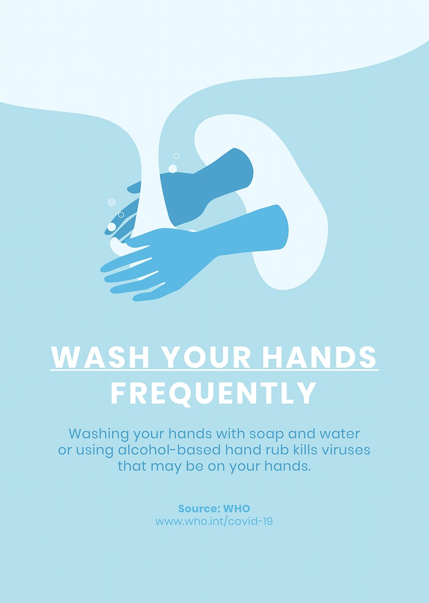 Wash your hands frequently poster vector