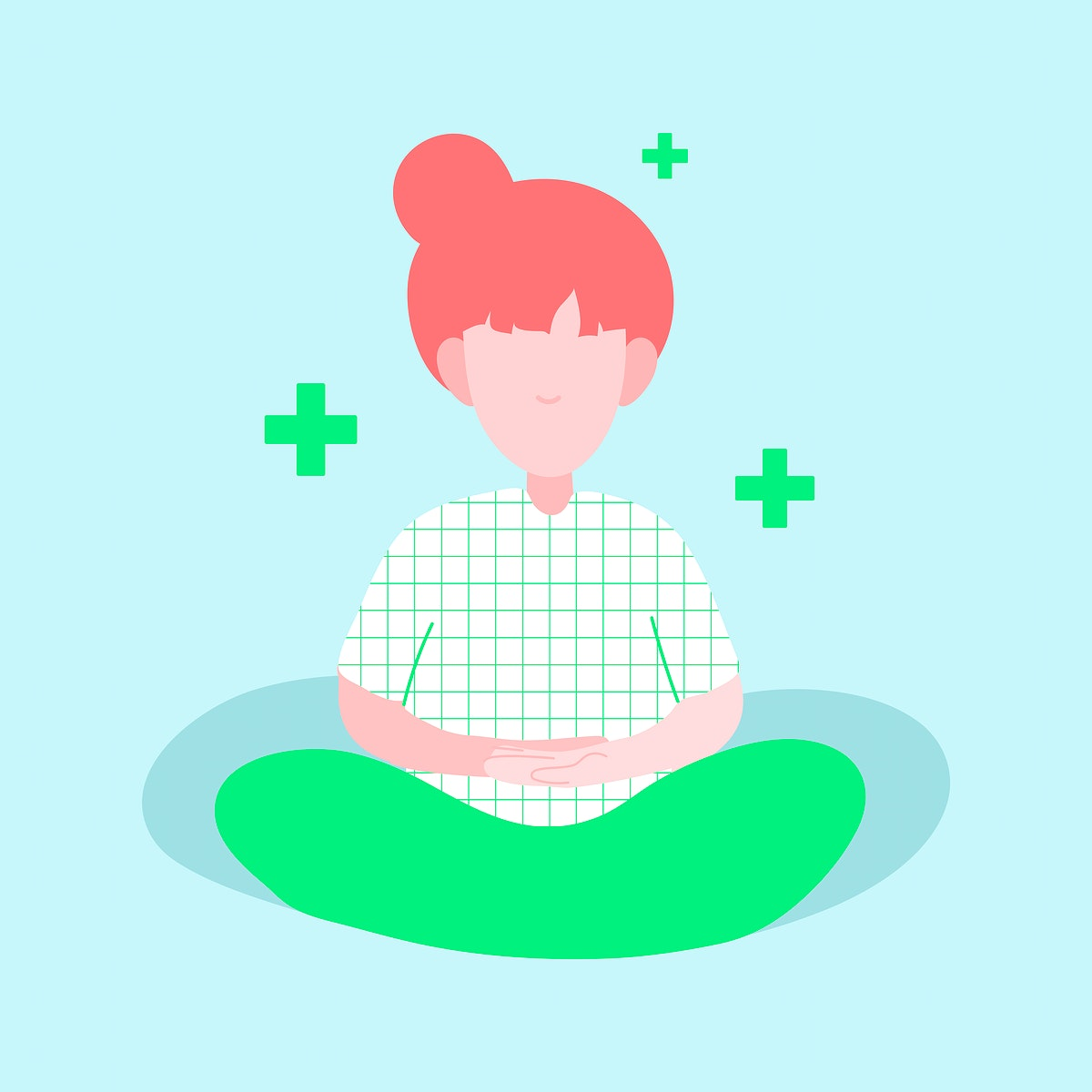 Meditating woman during self quarantine character vector