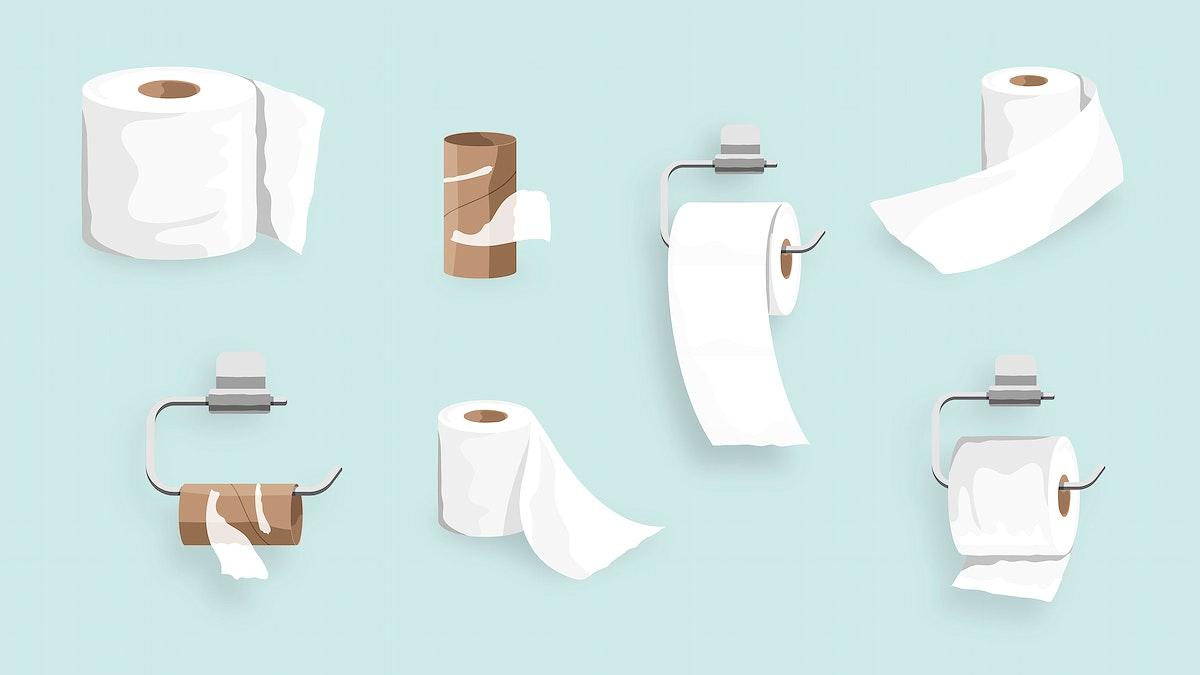 Toilet tissue roll set element element vector