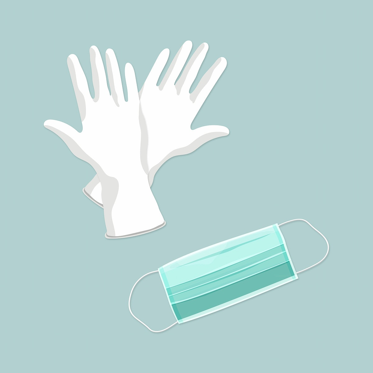 Green disposable surgical mask and white gloves vector