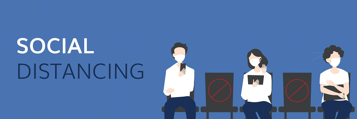 Social distancing amic Coronavirus pandemic banner vector