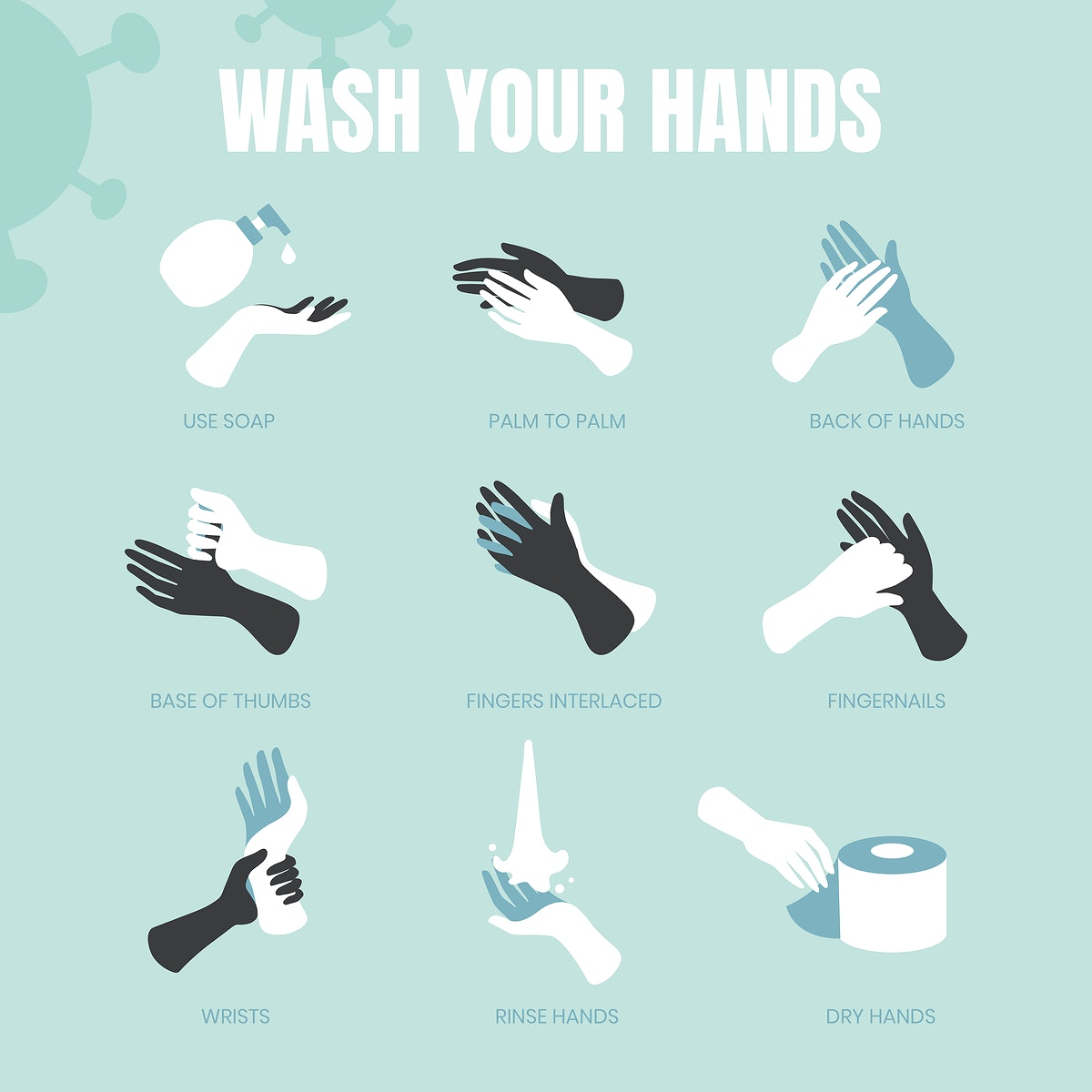 Wash your hands coronavirus protection template vector