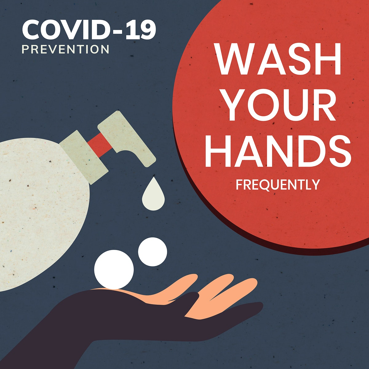 Wash your hands covid-19 prevention message template vector