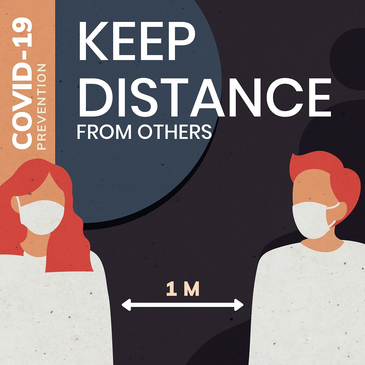 Keep distance from others covid-19 prevention message template vector