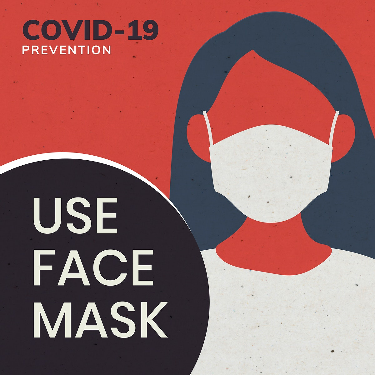 Covid-19 prevention use face mask social ad vector