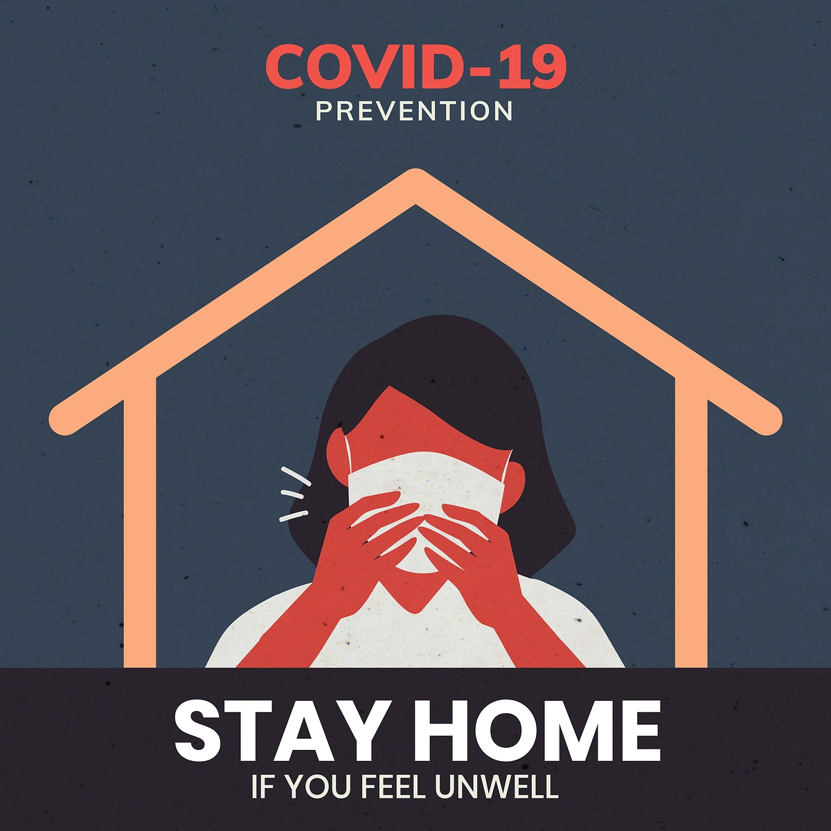Stay home covid-19 prevention message template vector
