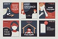 Covid-19 prevention message template set vector