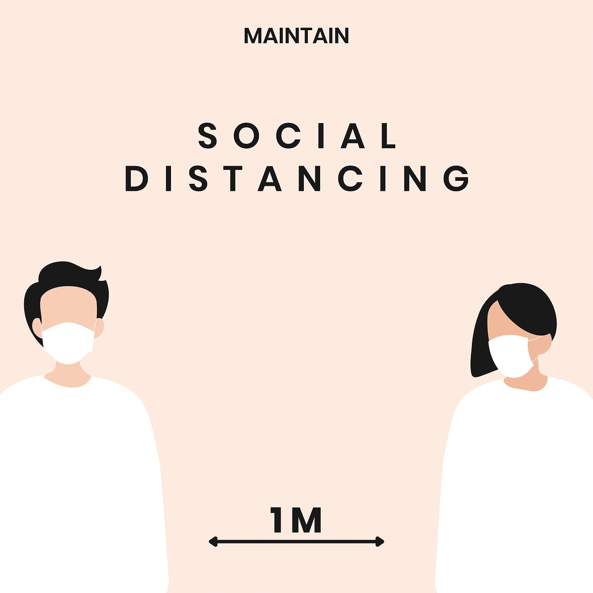 Social distancing coronavirus awareness message vector