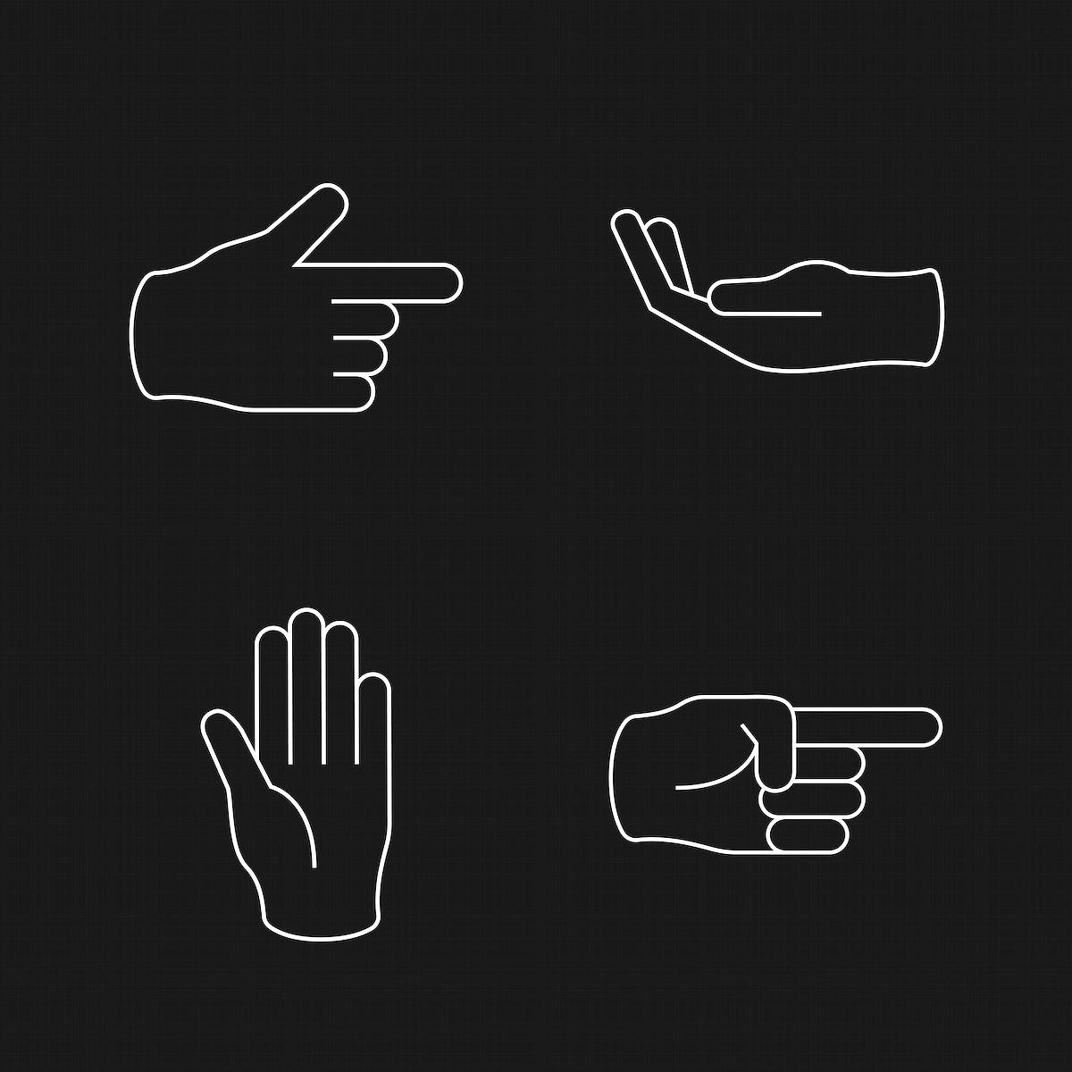Hand signals set vector