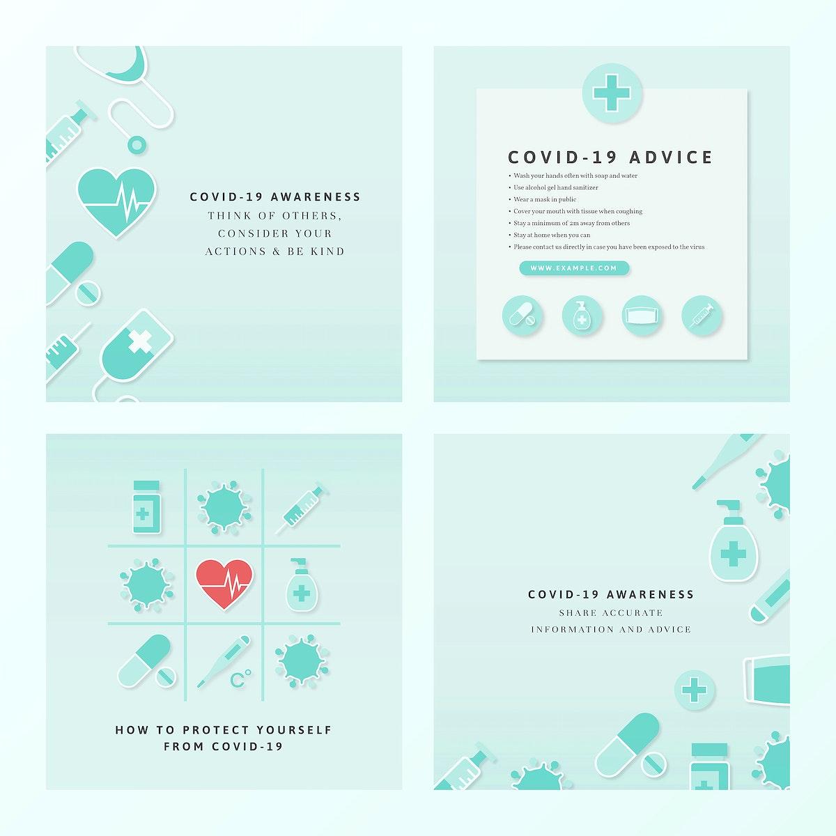 Covid-19 awareness information card set vector