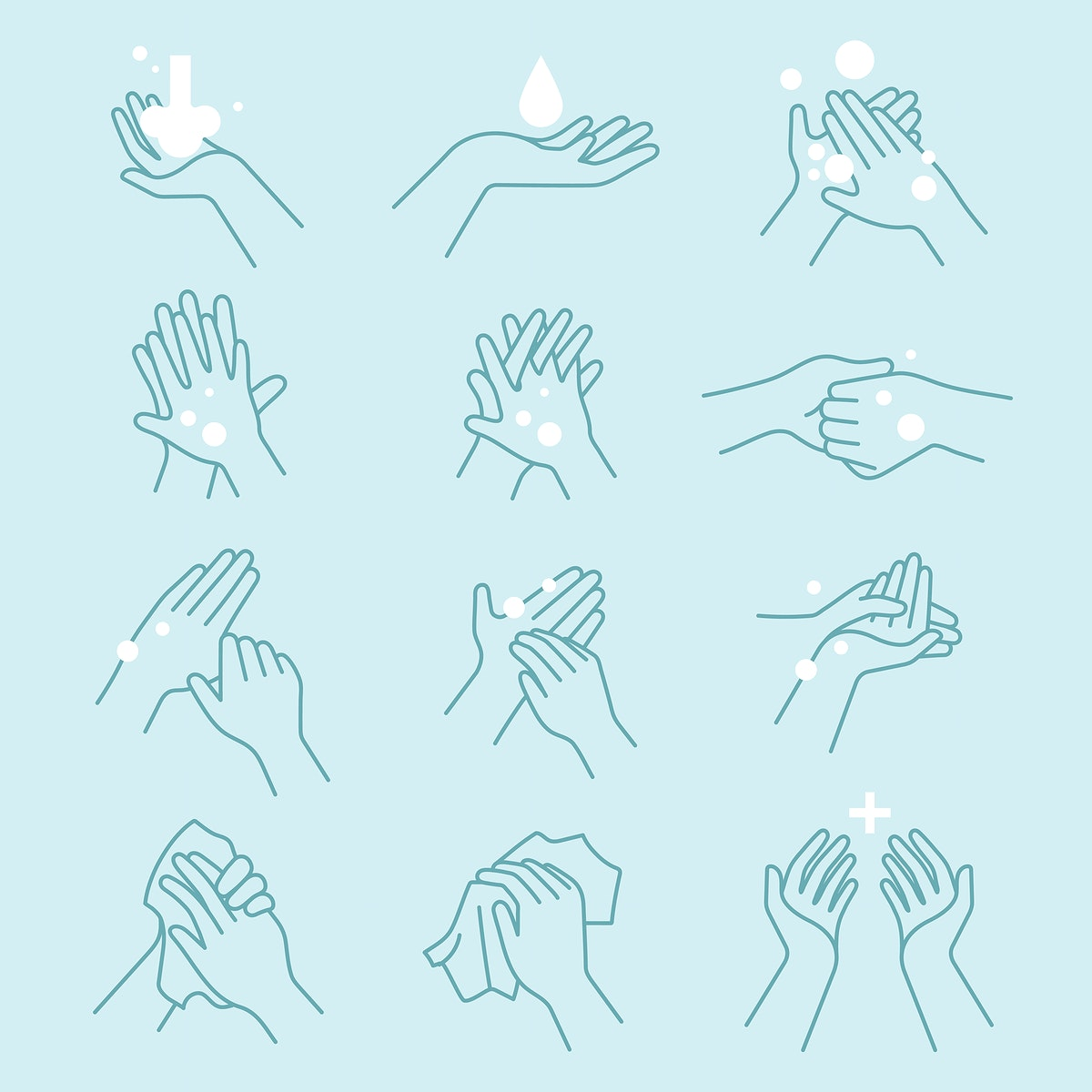 How to wash your hands icon set vector