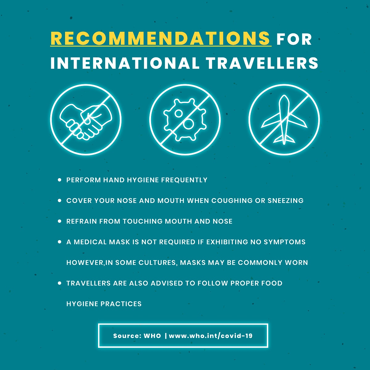 Recommendations for international travelers during covid-19 outbreak social template vector